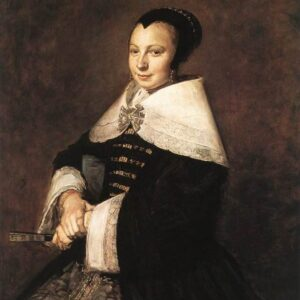 Portrait of a seated woman holding a fan - Frans Hals