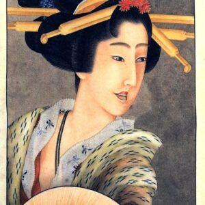Portrait of a woman holding a fan - Katsushika Hokusai